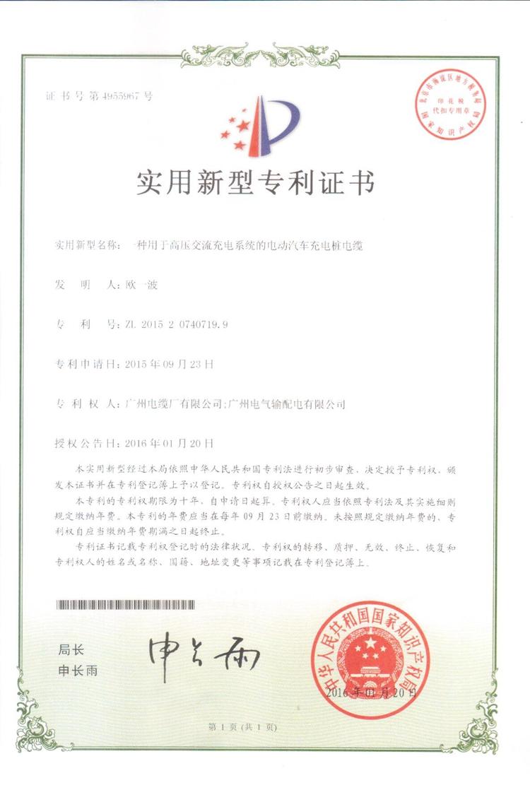 2015年产品专利证书